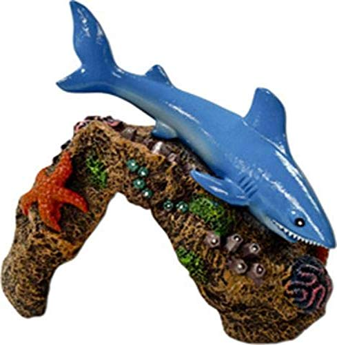 Exotic Environments Great White Shark Aquarium Ornament, 5-1/2-Inch by 4-1/2-Inch by 4-Inch