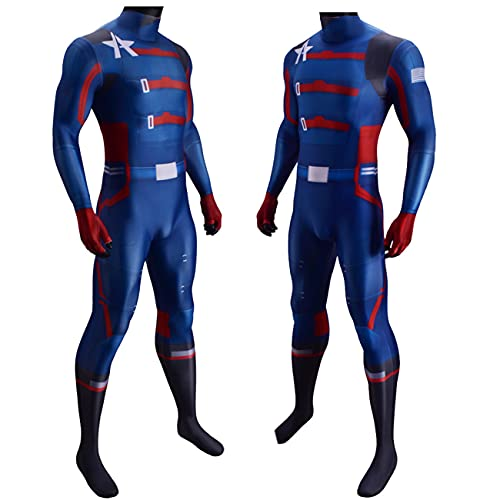 NVHAIM Avengers Children Children Captain America Stretch Body, Lycra Spandex Cosplay Disfraz De Halloween Superhroe Conjuntos Onesies,Blue-Kids XL