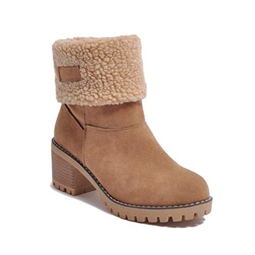 Minetom Femme Bottes de Neige Hiver Chaudes Peluche Bottines Classique Bloc Talons Ankle Boots Suède Cuir Fourrées Cheville Chaussures Chameau 39 EU