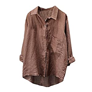 Women's Casual Cotton Linen Blouse Plus Size High Low Shirt Long Sleeve Tops