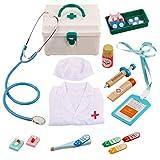 POXL Kinder Arztkoffer Kit, 14 Stück Medizinisches Doktor Set Lern Doktorkoffer Spielzeug für Mädchen und Jungen