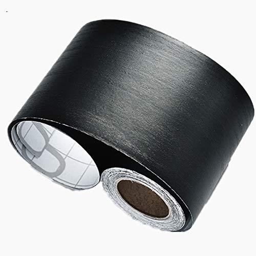 Amao 10Meters Peel and Stick Black Wood Backsplash Wall Paper Border Sticker Self-Adhesive Wallpaper Border