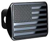 eVerHITCH USA US American Stainless Steel Flag Metal Emblem on Metal Trailer Hitch Cover (Fits 2' Receivers, Black)