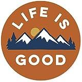 Life is Good. 4' Circle Sticker - LIG Mountains - Deep Orange