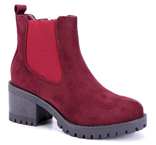 Schuhtempel24 Damen Schuhe Klassische Stiefeletten Stiefel Boots rot Blockabsatz 6 cm