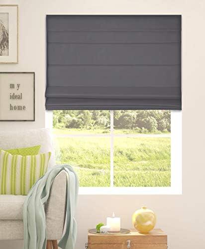 Calyx Interiors Graphite Cordless Room Darkening Fabric Roman Shades Size 46 5 W X 48 H product image