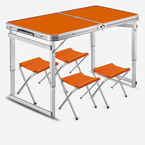 JCCOZ-T Folding Small Table 4-Person Table with Chairs for Camping, Adjustable Height Aluminum Portable Outdoor Table for Picnic, BBQ, Beach, Party, Traveling T (Color : Orange)