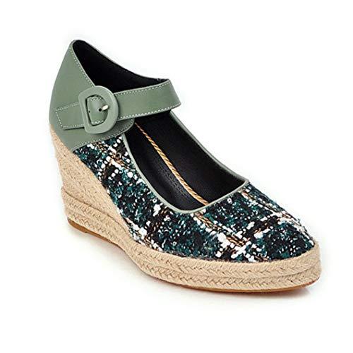 Casual Mujer Tejer Tacones Altos Color Mezclado Cuñas De Dedo del Pie Puntiagudas Bombas Otoño Mary Jane Muffin Zapatos Comodidad Diaria Señoras Zapatos De Playa