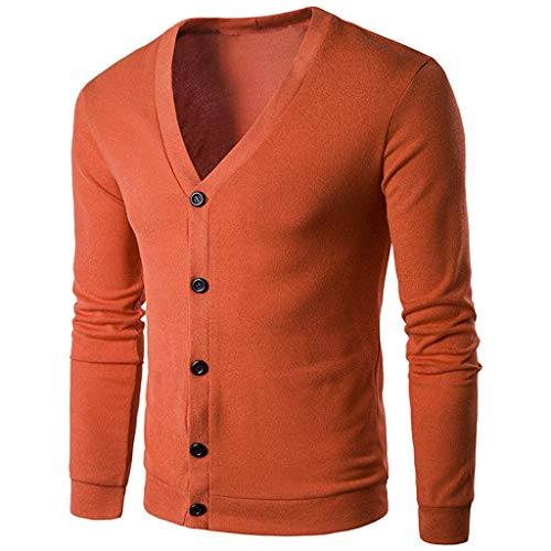 2018 Big Promotion,WUAI Clearance Men's Knit Sweater Cardigan V-neck Slim Fit Solid Button Fashion Outdoors Jackets(Orange,US Size XS = Tag S)