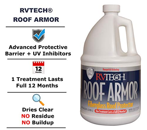 RVTECH Roof Armor RV Fiberglass Roof Protectant - Anti-Static Dirt-Repelling Waterproof Prevents Fading and Cracking Reduces Chalking Non-Abrasive Pro-Strength UV Coating Treatment | 1 Gallon