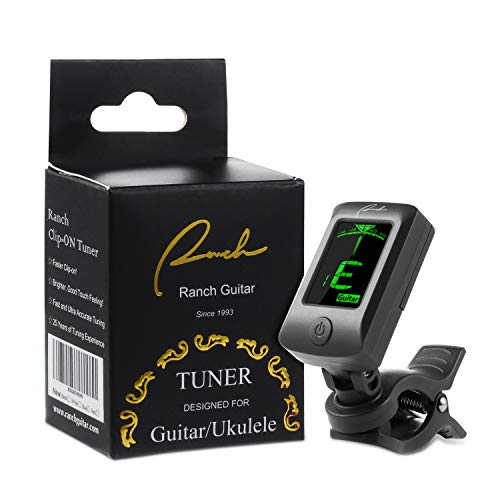 Ranch Clip-On Tuner Specialized for Ukulele and Guitar Beginner - Black