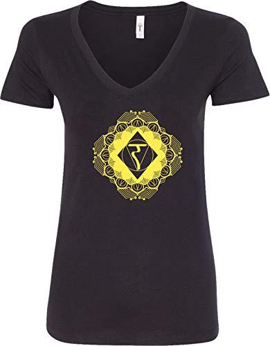 Diamond Manipura Ladies Blended V-Neck Yoga Tee Shirt, Black 2XL