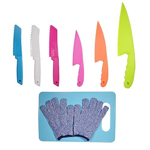 LLGLEU Juego de 6 cuchillos de cocina de plástico con tabla de cortar y guantes de protección, cuchillo de plástico – Cuchillo de cocina infantil para frutas, pan, pasteles y ensalada (multicolor 4)