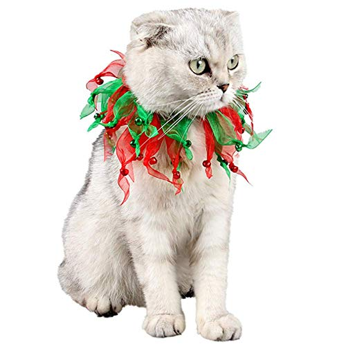 ANIAC Pet Elastic Collar with Jingle Bell Halloween Costume Decorative Christmas Bow Ties Red and Green Neckwear for Cats and Small Animals