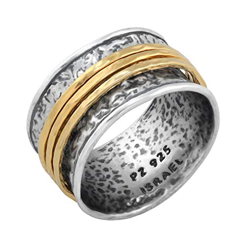 PZ Paz Creations 925 Sterling Silver Gold Over Silver Spinner Ring | Three Spinners Hammered Design | Hypoallergenic Made in Israel (Gold, 7)