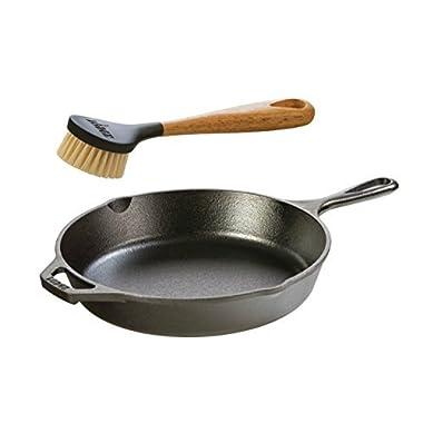 "Lodge Seasoned Cast Iron Skillet w/ Scrub Brush- 10.25"" Cast Iron Frying Pan With 10"" Bristle Brush"