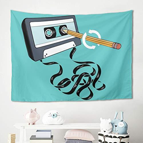 LAOAYI Wandteppich Magnetband Hippie Wandbehang Musik Picknickdecken für Fenstervorhang White 230x150cm