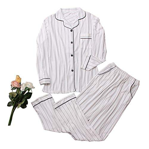 Casual Katoen pyjama Sets Vrouwen Lange Mouw Wit Gestreepte Slaapmode Pak 2 Stuk Sexy