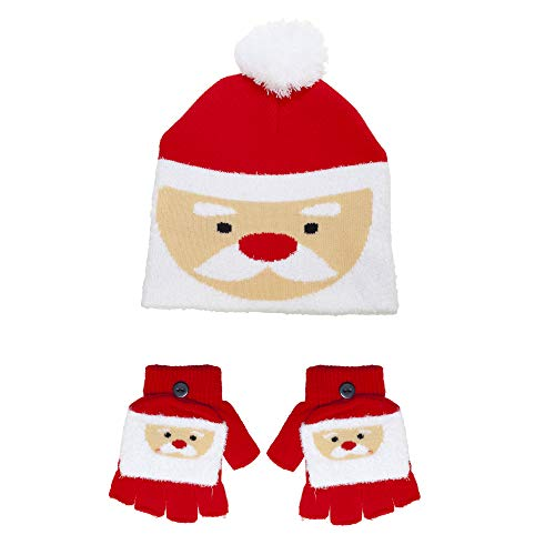 R J M Childs, Boys Girls Christmas Novelty hat and Gloves Set, Santa or Christmas Pudding (Santa)