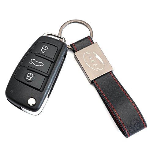 Schlüssel Gehäuse Fernbedienung für Audi Autoschlüssel Funkschlüssel A1 A3 A4 A6 A8 Q3 Q5 Q7 (8X0837220D) mit Leder Schlüsselanhänger KASER