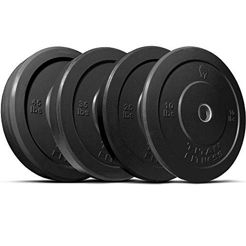 TITAN 230 lb Set of Olympic Bumper Plates Benchpress Strength Training Power - Black