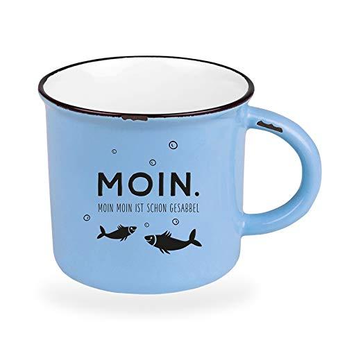 Kaffeetasse vintage| Keramik Becher zum verschenken | 400 ml | maritim | Moin.