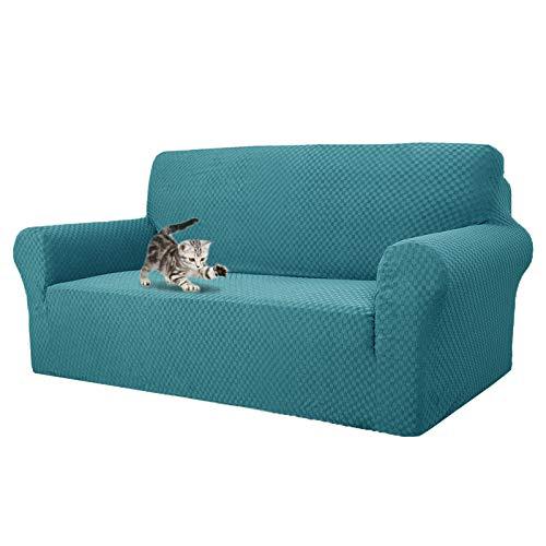 MAXIJIN Fodere per divani più recenti per 3 posti, Fodera per Divano Jacquard Elasticizzata per Cani Fodere per mobili in 1 Pezzo Elastiche per Animali Domestici (3 Posto, Jacquard Blu Pavone)