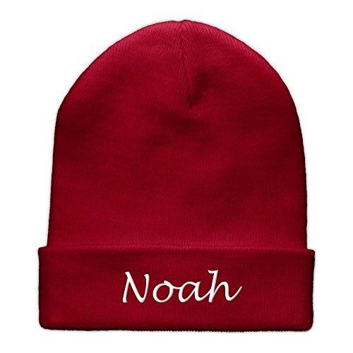 printplanet Beanie-Mütze mit Namen Noah Bestickt - Farbe Rot - personalisierte Mütze, Strickmütze, Namensstickerei