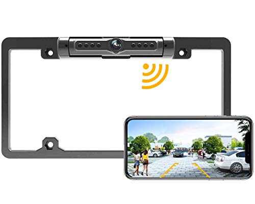 License Plate Wireless Backup Camera, WiFi Rear View Camera, LASTBUS 170° View Angle Universal IP69 Waterproof Car License Plate Frame Camera for Car Truck SUV Pickup Trailer Van Camper