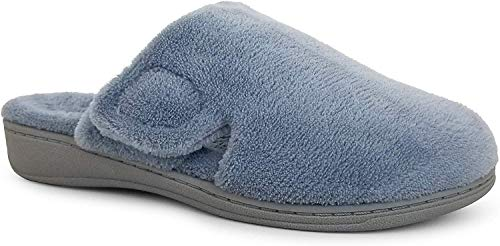 Vionic Women's Gemma Mule Slipper - Comfortable Spa House Slippers That Include Three-Zone Comfort with Orthotic Insole Arch Support, Soft House Shoes for Ladies Light Blue 8 Medium US