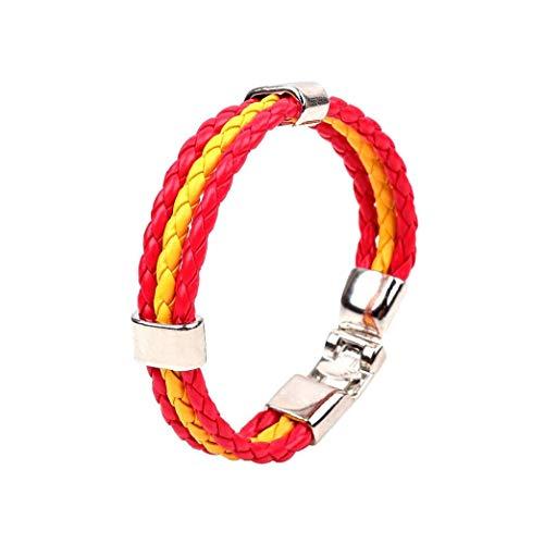 Cuero de la pulsera de la Copa Mundial de Deporte pulseras de punto de color pulsera de la bandera nacional de partido de fútbol soccer pulsera para hombres y mujeres (Español) regalos para la familia