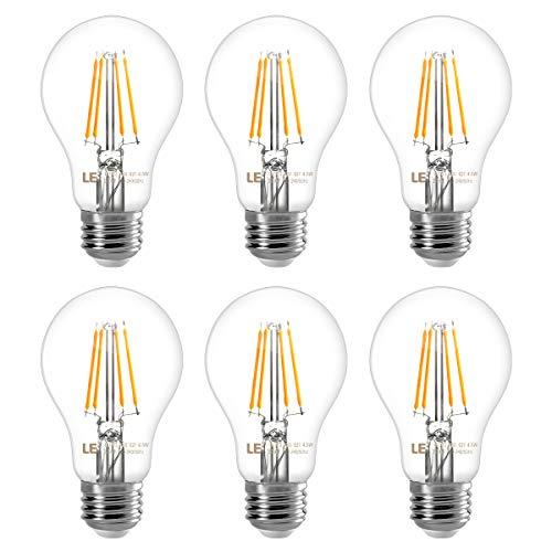 LE Glühbirne E27, 7W E27 LED, E27 LED Warmweiss, 6er Pack, 806 Lumen Filament Lampe, Classic Lampe Birnen in Kolbenform, 2700 Kelvin Warmweiß, ersetzt 60 Watt, Filamentstil Klar