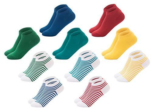 FOOTNOTE I 10 Paar I Sneaker Socken Ohne Gummi Ohne Naht Damen Herren Unisex Bunt Rot Grün Blau Gelb Türkis Gestreift 43 44 45 46