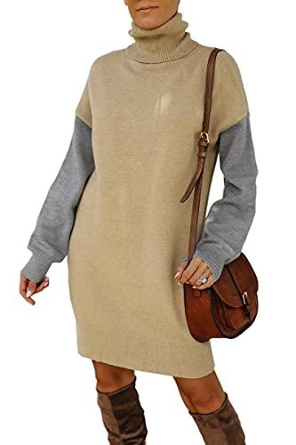 Spec4Y Damen Strickkleid Elegant Minikleid Lang Pullover Stretch Pullikleid Sweater Kleid für Herbst Winter 3195Khaki M