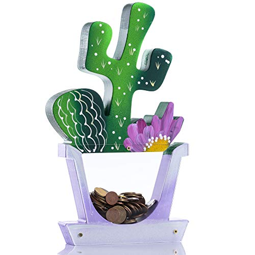 Zeinum Cactus Texas Green 250 Coins Reusable Piggy-Bank   Hand Painted in Europe   Gift Box   Cute Money-Jar   Useful Toy for Kids Teens Boys Girls Adults Room Bedroom Decoration