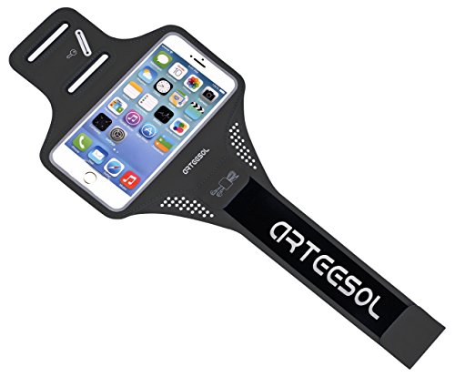 """ARTEESOL iPhone 7 Running Armband, Waterproof Cell Phone Holder 4""""-5.5"""" with Fingerprint Touch for iPhone X/8/7/6/Plus, Galaxy S7, Lg, Phone Pouch for Workout Exercise [Black]"""