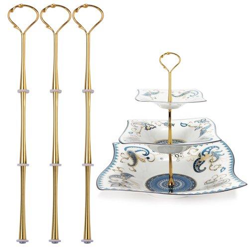 3 Set golden Metallstange Mittellochausstech bis 3 Etage fuer Hochzeitstorte Etagere Tortenstaender Tortenhalter Torten