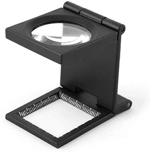 BJLWTQ Magnifier Metal Folding Pigeon Eye Dot Printing 10x28mm Photo Cloth Mirror 20 Times Folding Desktop Magnifying Glass