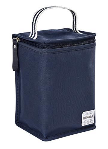 BÉABA - Isoliertasche für Babymahlzeiten - Geräumig - Aufbewahrung von Baby-Flaschen - Tasche für komplette Mahlzeiten - Zusammenlegbar - Weiches und wasserdichtes Material - Marineblau