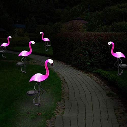 Énergie solaire rose flamant rose pelouse décoration lumineuse jardin pieu paysage lampe en plein air nuit lumières nouvelle fête déco animaux lumières 2 pcs