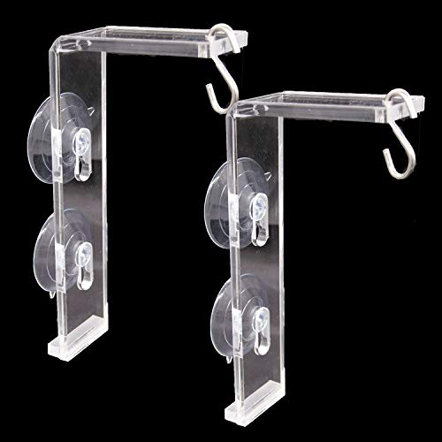 Tongnian 2 Pieces Suction Cup Window Hanger Transparent Acrylic Window Hanger for Indoor Plants Garden, Bird Feeders, Ornaments and Wind Chimes