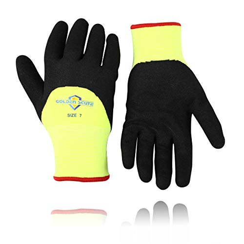 Golden Scute Freezer Winter Work Gloves,Smart Touch,Fleece Lined with Tight Grip Palms -Cold Temperatures, 2 pairs (Large/Size 9)