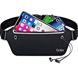 Gritin Running Belt, Waist Pack Fitness Belt W Headphone Hole - Soft Sweat-proof Fabric and Adjustable Elastic Strap for Waist Curve,Running and Other Outdoors-Black