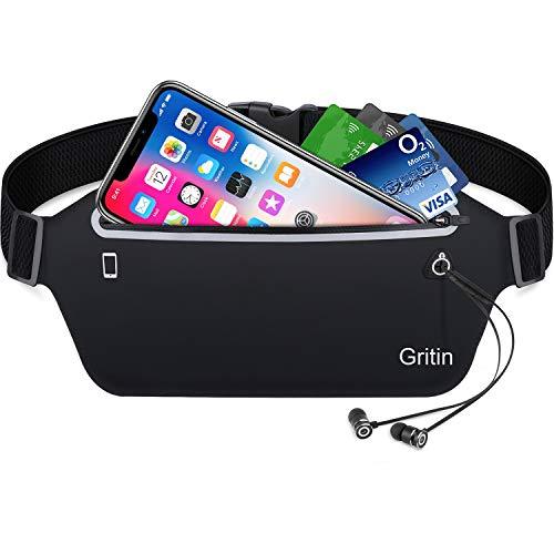 Gritin Sport Hüfttasche, Bauchtasche Gürteltasche leichte wasserdichte Laufgürtel Lauftasche mit Kopfhöreranlass für Laufen, Wandern für iPhone 7 Samsung Galaxy S8 bis zu 6 Zoll usw.