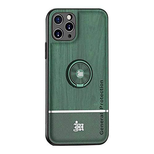 Funda de teléfono móvil compatible con iPhone 12, funda de silicona y piel sintética, ultrafina, con anillo de 360 grados, carcasa de TPU antigolpes, soporte magnético para coche, color verde