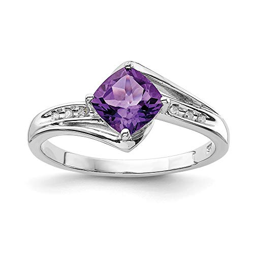 925 Sterling Silver Diamond Purple Amethyst Square Band Ring Size 8.00 Gemstone Fine Jewelry For Women Gifts For Her
