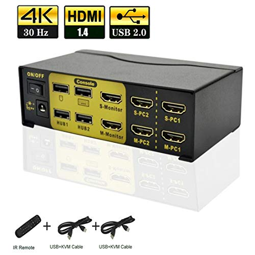 Kvm Switch Dual Monitor Hdmi 2 Port,Hdmi Dual Monitor Kvm with USB 2.0 Hub,4k@30Hz,Power by Hdmi Cable,2 in 2 Out Dual Display Kvm for Dual Port Video Screen Keyboard Mouse Computer Switching