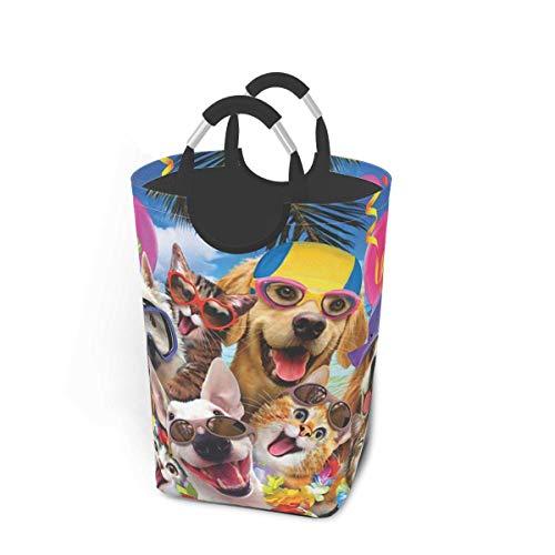 NOBRAND Cesta grande de 50 litros, para la colada, plegable, para la playa, para perros, gatos, con asas de aluminio, para ropa sucia, bolsa plegable