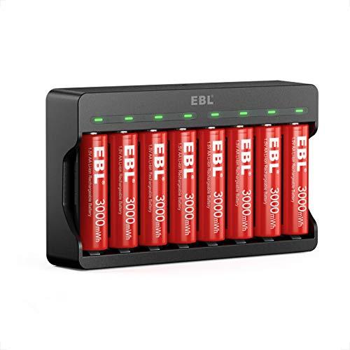 EBL 8 pcs AA Batterie Ricaricabili Durature, 1,5V Pile Ricaricabili da 3000mWh + Caricabatterie a 8 Slot