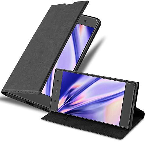Cadorabo Hülle für Sony Xperia XA1 in Nacht SCHWARZ - Handyhülle mit Magnetverschluss, Standfunktion & Kartenfach - Hülle Cover Schutzhülle Etui Tasche Book Klapp Style